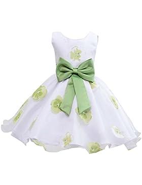 Vestido Niña Boda Imprimir Sin Mangas Princesas Disfraz Con Bowknot Verde para 6-7 años