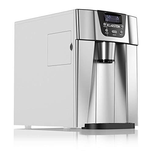 Klarstein Ice Volcano 2GR • Machine à glaçons • Réservoir d'eau de 2 litres • Compresseur haute capacité • Silencieuse • Panneau de commande intuitif • 2 tailles de glaçon au choix • Argent