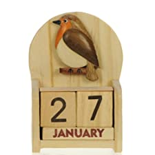 Robin Perpetual Calendar : Handcrafted Wood : Top Christmas Gift Idea : Traditional Xmas Present & Novelty Stocking Filler : For Children, Kids, Boys, Girls, Him, Her & Fun Loving Adults! : 50+ Garden Bird, Animal & Transport Designs (Size 10.5x7x3.5cm)