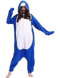 Kigurumi Pijama Animal Entero Unisex para Adultos con Capucha Cosplay Pyjamas Tiburón Ropa de Dormir Traje