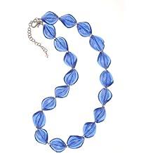 The Jewellery Factory Murano Style Dark Aqua Twist Glass Bead Necklace of50.5cm [45.5cm + 5cm extender] u2iqQ4KNNg