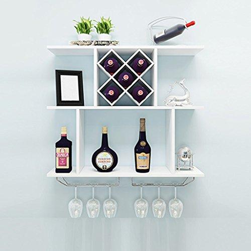 Mensole da parete mobile da parete in legno massello con mobiletto in cristallo per vino (colore : bianca, dimensioni : 80x20x67cm)