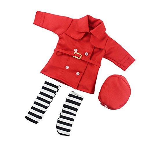 B Blesiya Docteur Infirmière Uniforme Ensemble pour 14in American Girl Journey Dolls Outfit Vêtements - Rouge, comme décrit