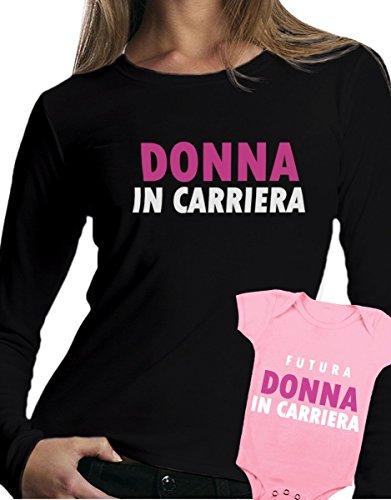 t-shirt manica lunga e body rosa festa della mamma - Donna in carriera, futura donna in carriera -tutte le taglie uomo donna maglietta by tshirteria nero