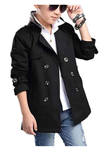 CYSTYLE Frühling Herbst Kinder Jungen Klassischer Trenchcoat Übergangsjacke Jacke Outerwear (Schwarz, 160/Körpergröße 150cm) Kinder Trenchcoat