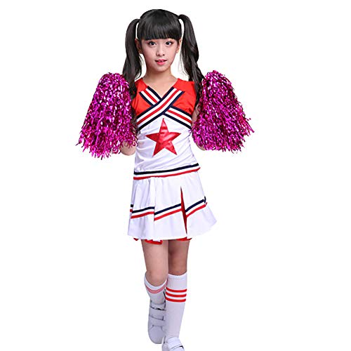 G-Kids Kinder Mädchen Cheerleader Kostüm Uniform Karneval Fasching Party Halloween Weihnachten Kostüm Kleid Cheerleading Bekleidung mit 2 Pompoms und Socks Rot 130