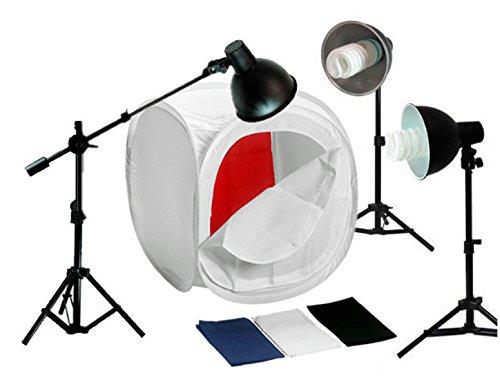 Bresser Produktaufnahme-Set mit Lampenstativ, Lampenschirm, Lampe schwarz