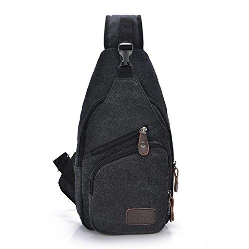 BULAGE Taschen Lässig Elegant Wild Einfach Männer Leinwand Sport Männlich Paket Die Brust-Pakete Multifunktionale Im Freien Tasche Black