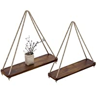 """Rustic Set of 2 Wooden Floating Shelves with String - Farmhouse Hanging Shelves for Living Room Wall - Small Kitchen Shelves with Rope - 17""""x5.2"""" - Distressed, Rustic Brown Color"""