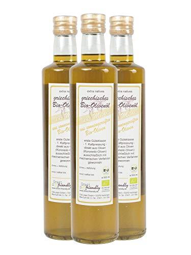 Mildes Olivenöl (Griechisches Bio Olivenöl mild, extra nativ - aus der Region Mani (3 x 500 ml))