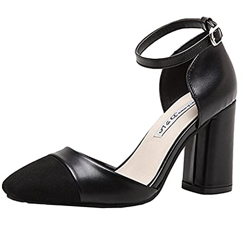 Oasap Square-heeled Leather Sandals With Ankle Strap, Black EURO39/US8/UK6