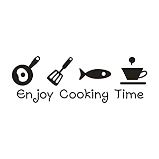 Kitchen Arts Wall Stickers - Saihui Decal Murals - Enjoy Cooking Time - Funny Saying Family Cartoon Patterns Removable Crafts Vinyl Quotes Wall Decals for Home Room Decor (A)