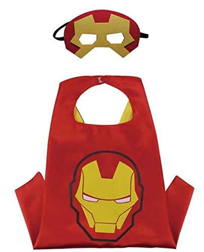 House cloud costumi da supereroi per bambini - regali di compleanno - costumi di carnevale - 1 mantello e maschere - logo - giocattoli per bambini e bambine captain america flash e ironman (iron man)