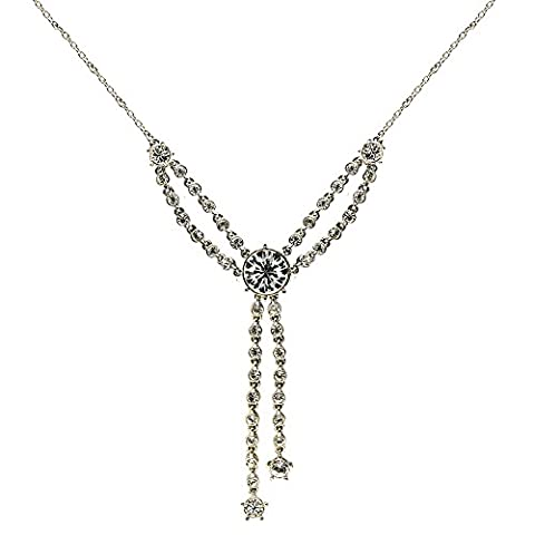 Cristalina Gatsby Glam Swarovski Kristall Y-Halskette Quaste von 45–47,5cm (1920 Bride Kostüm)