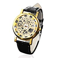 MachinYester Luminous Needle Watch Hollow Out Soft PU Leather Strap Belt Casual Style Couple Quartz Movement Waterproof Wristwatch black strap & gold dial