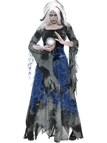 Frauen Kostüm sündige Wahrsagerin Hellseherin Hexe Zauberin Magierin mit Kleid und Überkleid, sinny Fortune Teller Witch, perfekt für Halloween Karneval und Fasching, L, Grau ()