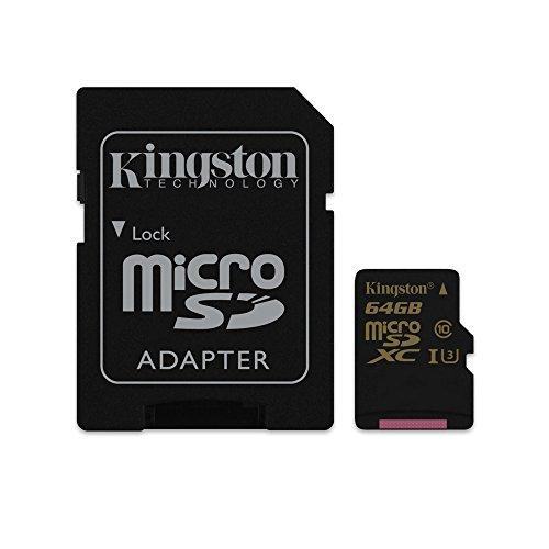 Kingston Gold microSD 64GB Class 3 (U3) Speicherkarte mit Adapter UHS-I Speed