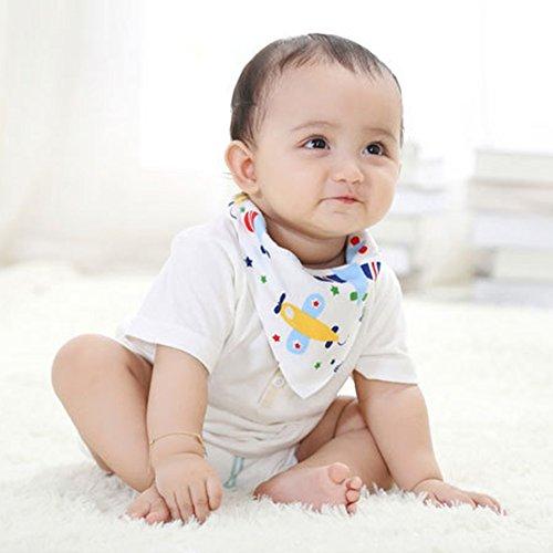 Labebe - Baby Dreieckstuch Lätzchen Spucktuch 10er Pack mit süßen Motiven in unterschiedlichen Farben (A)