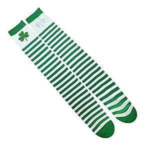 Amosfun St Patrick's Day Warmers Baumwollgamaschen DREI Kleeblatt Muster Socken Warmers Kostüm Zubehör für St Patrick's Day Party Supplies Kinder Geschenk