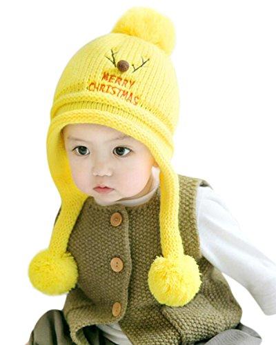 Kidsform Bebé Niño Niña Navidad Invierno Gorra Gorro Lana con Pompón  Caliente Sombrero Cap Amarillo 6 6ae9a7b570d