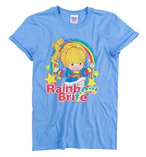 Womens Rainbow Brite Stars Carolina Blue Boyfriend Fit Rolled Sleeve T Shirt -