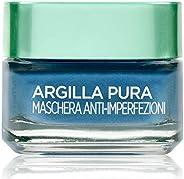 L'Oréal Paris Detergenza Maschera per il Viso Argilla Pura Anti-Imperfezioni con Alghe Marine, Agisce sui Punti Neri e Ristr