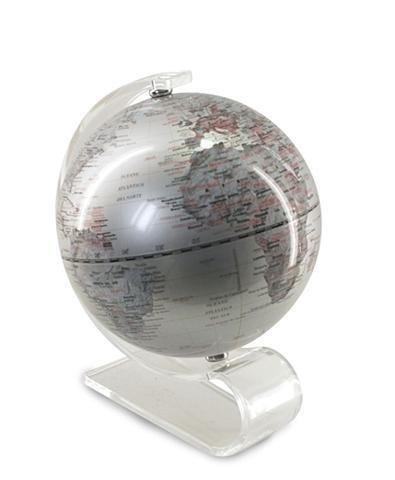 Globo Terráqueo Gris World Map. 18 x 15 x 13 cm.