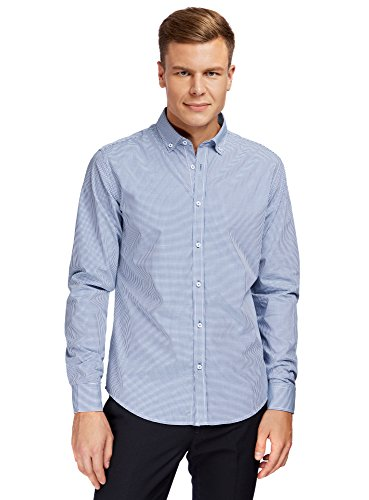 oodji Ultra Hombre Camisa Entallada a Cuadros Pequeños, Azul, сm 42 / ES 42 / L