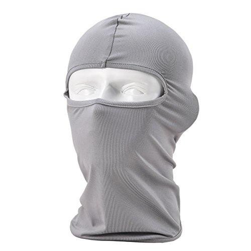 Passamontagna Unisex-Attrezzature Sportive Antivento Antipolvere Sottocasco Balaclava Regolabile Maschera Facciale per Equitazione,Grigio chiaro