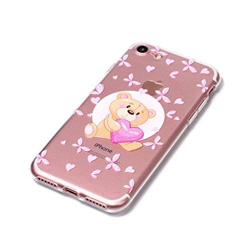 Fodlon® Vent de Hibou Transparent Soft Case pour Apple iphone 7 Ours