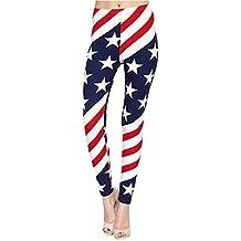 MEIbax Leggings Deportes Pantalones para mujeres de Moda Bandera Estados Unidos Estampado de las entrenamiento Gimnasio