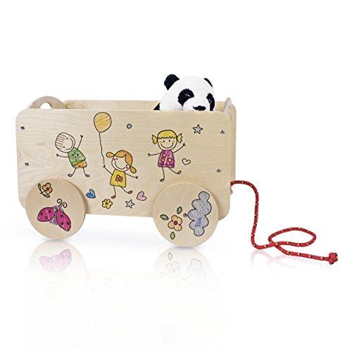 Dida - Carretto in legno trainabile porta oggetti e giochi per bambini. Decoro Bimbi.