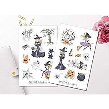 Halloween Hexe Sticker Set | Aufkleber | Journal Sticker | Planersticker | Mädchen Sticker | Sticker Kürbis | Sticker Planer