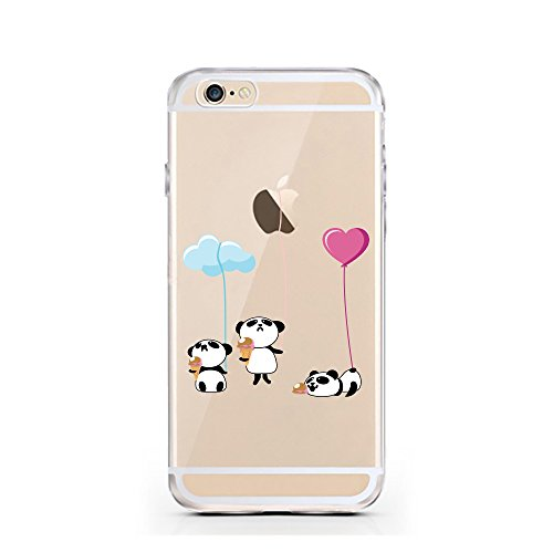 "licaso® iPhone TPU Hülle Disney Case transparent klare Schutzhülle Giraffe Hülle aus Silikon iphone6 Tasche Giraffen Case (iPhone 6 4,7"", Giraffe WTF?) 3 Pandas Eis"