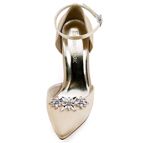 ElegantPark AL Damen Glanz Schuh Kleider Handtasche Clutch Fashion Strass Clips 2 Stück Blumen Gold