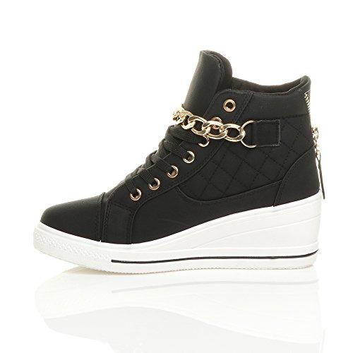 Femmes talon compensée mi chaîne lacets baskets chaussures de tennis pointure Noir / Blanc Semelle