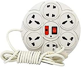 Extension Board with 8 Plug Points | Copper Wiring | Suitable for Every Basic Need at Home and Office | 6 Amp Multi Plug Point Extension Cord with Led Indicator and Universal Socket (White)