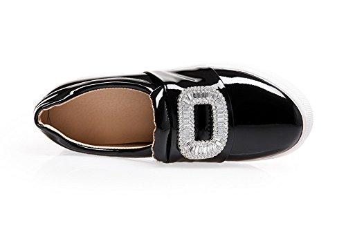 VogueZone009 Femme Tire à Talon Correct Verni Couleur Unie Fermeture D'Orteil Rond Chaussures Légeres Noir