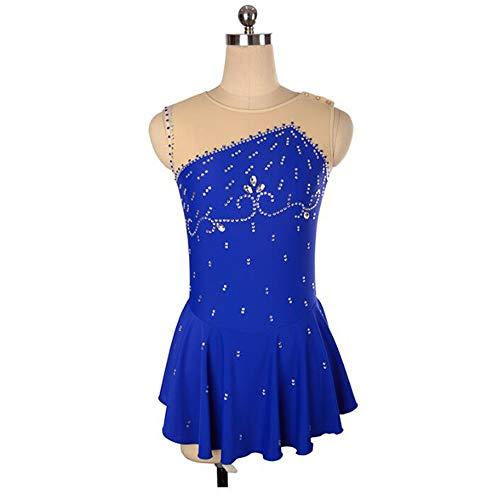 XIAOY Frauen Eislaufen Wettbewerb Professional Ärmellos Kostüm Handarbeit Eiskunstlauf Kleid,Blue,L