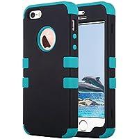 ULAK iPhone 5 case iPhone 5S caso iPhone SE Funda Cases Carcasa Wave hñbrida resistente Suave TPU + PC para el iPhone 5S 5 SE con protector de pantalla y Stylus (Negro + azul)