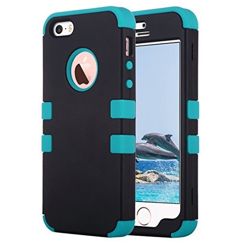 ULAK - Cover per iPhone 5S , iPhone SE / 5 Custodia ibrida a protezione integrale con parte esterna in 3 strati di morbido silicone e interno rigido per Apple iPhone 5S /5 /SE -Nero C-Nero + Blu