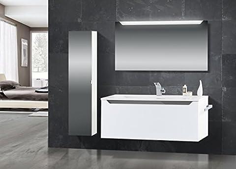 Badmöbel Set mit Waschtisch 120 cm, Grau Hochglanz Griffleiste