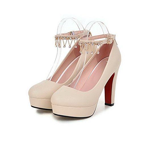 VogueZone009 Damen Rund Zehe Hoher Absatz Rein Schnalle Pumps Schuhe Aprikosen Farbe