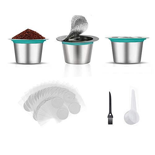 Nachfüllbare Kaffeekapseln, aus Edelstahl, mit 120 Foliendeckeln, wiederverwendbar, kompatibel mit Nespresso