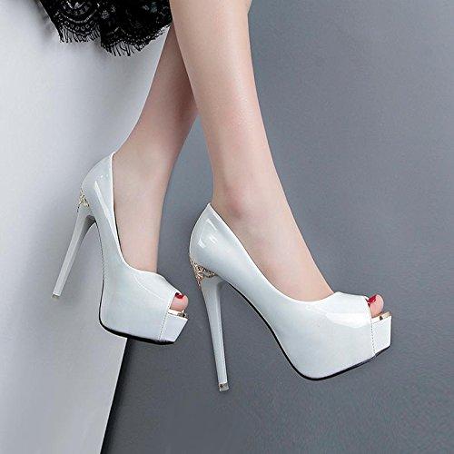 GTVERNH-bocca di pesce bianco le scarpe con un impermeabile bianco bene le scarpe scarpe sexy corrispondono tutti estate notte d'autunno,trentotto Thirty-nine