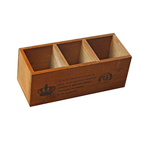 Baoblaze Tisch Holz Multifunktional Schreibtisch Blumentopf/Stiftehalter Organizer Pflanzen Garten Outdoor Balkon deko, Hohe Qualität - 3 Gitter Nr. 14