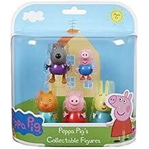 Peppa Pig 5 Figura Paquete Danny Dog, George, Candy Cat, Peppa y Rebecca Rabbit