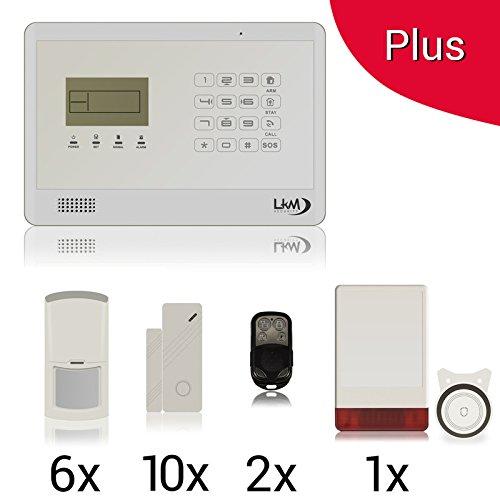 KIT Plus M2EB Antifurto Allarme Casa LKM Security Kit Wireless Senza Fili Controllabile da Cellulare con App Gratuita. Menù con Sintesi Vocale in Italiano e Manuale in