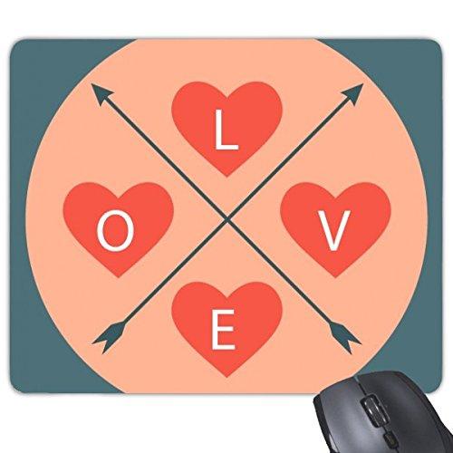 DIYthinker Valentinstag Rosa und Blaue Bild Liebe mit Herz und Crossing Pfeile Illustration Muster Rechteck Griffige Gummi Mousepad Spiel-Mausunterlage -