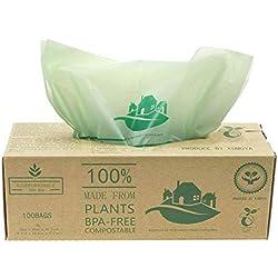 Compostables Cuisine Caddy sacs - 100 BioBag déchets alimentaires Compost 6L / 10L - en13432 - Sacs Poubelle biodégradables avec guide de compost (10L)